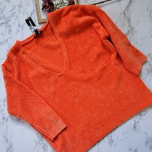Express Orange V Neck Sweater